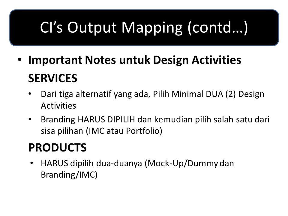 CI's Output Mapping (contd…) Design ActivitiesCI Categories Important Notes untuk Design Activities SERVICES Dari tiga alternatif yang ada, Pilih Minimal DUA (2) Design Activities Branding HARUS DIPILIH dan kemudian pilih salah satu dari sisa pilihan (IMC atau Portfolio) PRODUCTS HARUS dipilih dua-duanya (Mock-Up/Dummy dan Branding/IMC)