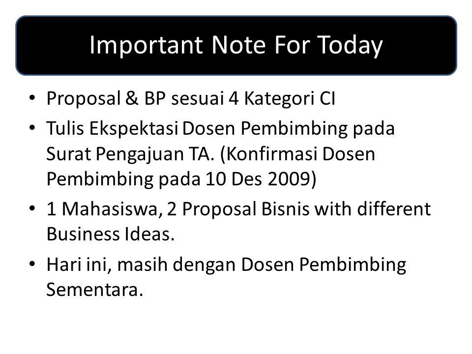 Important Note For Today Proposal & BP sesuai 4 Kategori CI Tulis Ekspektasi Dosen Pembimbing pada Surat Pengajuan TA. (Konfirmasi Dosen Pembimbing pa