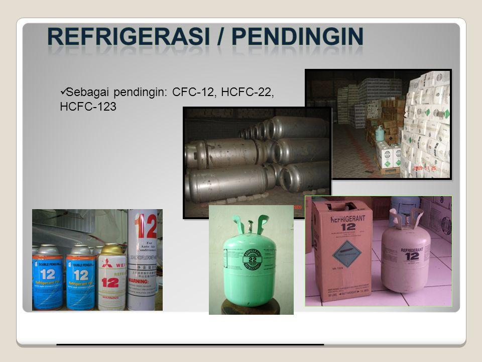 Sebagai pendingin: CFC-12, HCFC-22, HCFC-123