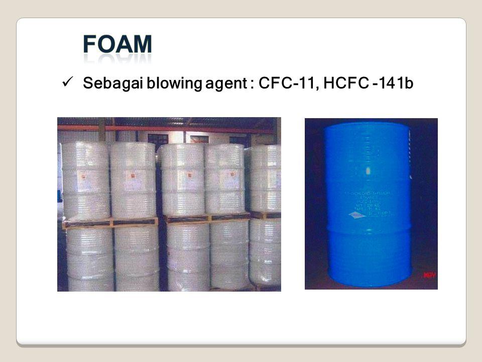 Sebagai blowing agent : CFC-11, HCFC -141b