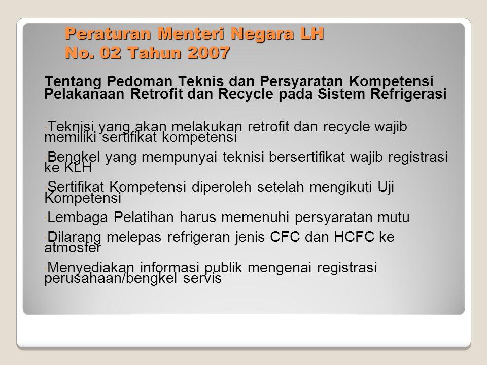 Peraturan Menteri Negara LH No. 02 Tahun 2007 Tentang Pedoman Teknis dan Persyaratan Kompetensi Pelakanaan Retrofit dan Recycle pada Sistem Refrigeras
