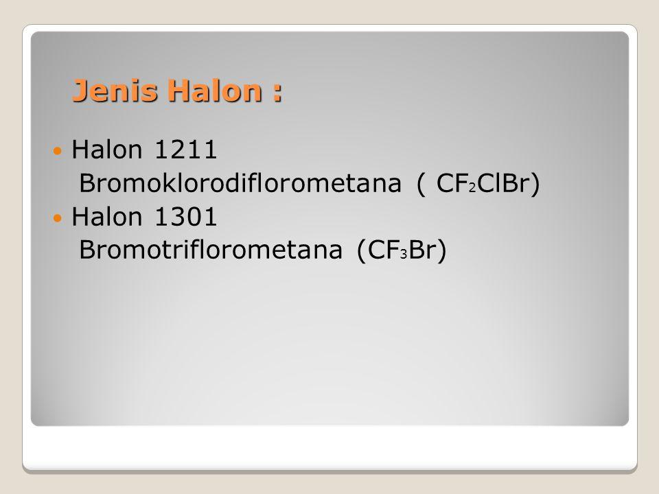 Jenis Halon : Jenis Halon : Halon 1211 Bromoklorodiflorometana ( CF 2 ClBr) Halon 1301 Bromotriflorometana (CF 3 Br)