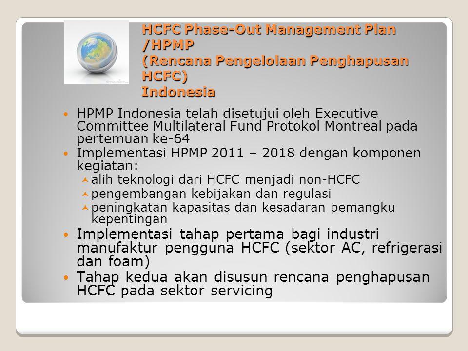 HCFC Phase-Out Management Plan /HPMP (Rencana Pengelolaan Penghapusan HCFC) Indonesia HPMP Indonesia telah disetujui oleh Executive Committee Multilat