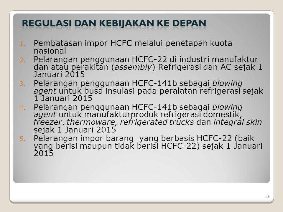 1. Pembatasan impor HCFC melalui penetapan kuota nasional 2. Pelarangan penggunaan HCFC-22 di industri manufaktur dan atau perakitan (assembly) Refrig