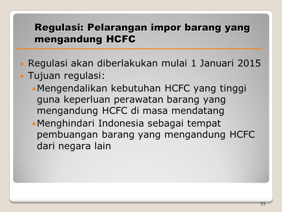 Regulasi: Pelarangan impor barang yang mengandung HCFC Regulasi akan diberlakukan mulai 1 Januari 2015 Tujuan regulasi:  Mengendalikan kebutuhan HCFC