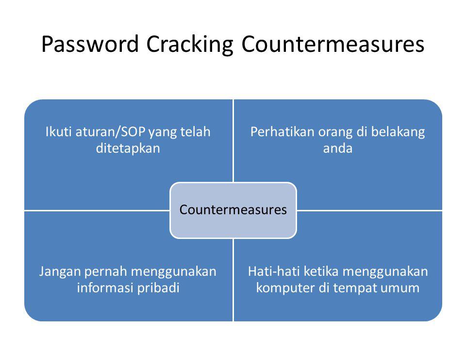 Password Cracking Countermeasures Ikuti aturan/SOP yang telah ditetapkan Perhatikan orang di belakang anda Jangan pernah menggunakan informasi pribadi Hati-hati ketika menggunakan komputer di tempat umum Countermeasures