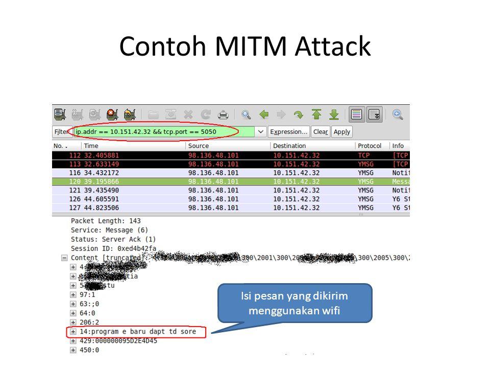 Contoh MITM Attack Isi pesan yang dikirim menggunakan wifi