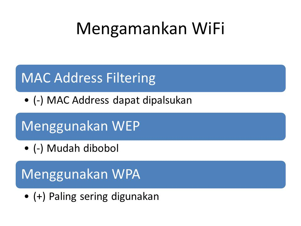 Mengamankan WiFi MAC Address Filtering (-) MAC Address dapat dipalsukan Menggunakan WEP (-) Mudah dibobol Menggunakan WPA (+) Paling sering digunakan