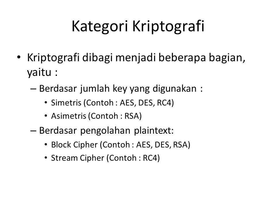 Kategori Kriptografi Kriptografi dibagi menjadi beberapa bagian, yaitu : – Berdasar jumlah key yang digunakan : Simetris (Contoh : AES, DES, RC4) Asimetris (Contoh : RSA) – Berdasar pengolahan plaintext: Block Cipher (Contoh : AES, DES, RSA) Stream Cipher (Contoh : RC4)