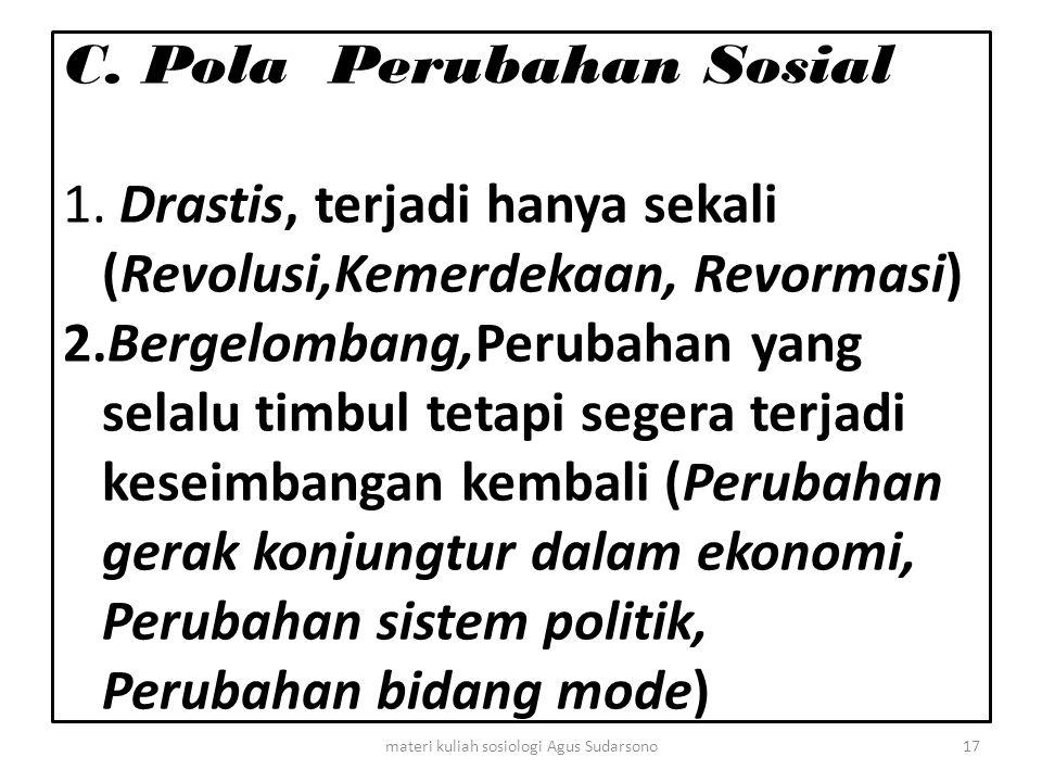 C. Pola Perubahan Sosial 1. Drastis, terjadi hanya sekali (Revolusi,Kemerdekaan, Revormasi) 2.Bergelombang,Perubahan yang selalu timbul tetapi segera