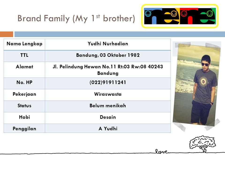 Brand Family (My Mother) Nama LengkapHj. Nurhayati TTLBandung, 28 Agustus 1961 AlamatJl. Pelindung Hewan No.11 Rt:03 Rw:08 40243 Bandung No. HP(022) 9