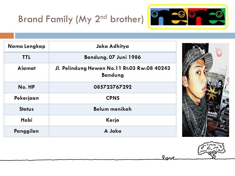 Brand Family (My 1 st brother) Nama LengkapYudhi Nurhadian TTLBandung, 03 Oktober 1982 AlamatJl. Pelindung Hewan No.11 Rt:03 Rw:08 40243 Bandung No. H