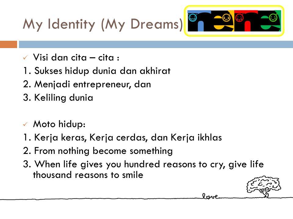 My Identity (My Dreams) Visi dan cita – cita : 1.Sukses hidup dunia dan akhirat 2.