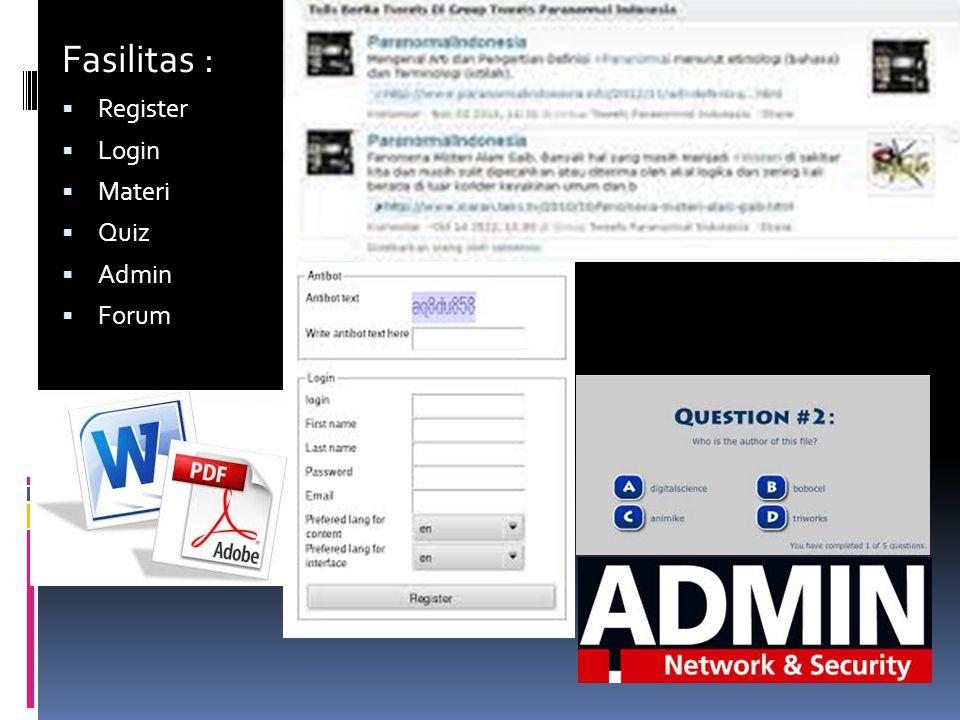 Fasilitas :  Register  Login  Materi  Quiz  Admin  Forum