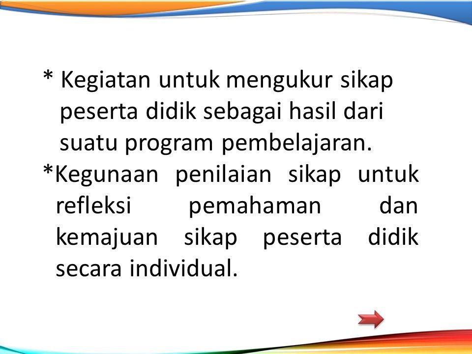 * Kegiatan untuk mengukur sikap peserta didik sebagai hasil dari suatu program pembelajaran. *Kegunaan penilaian sikap untuk refleksi pemahaman dan ke