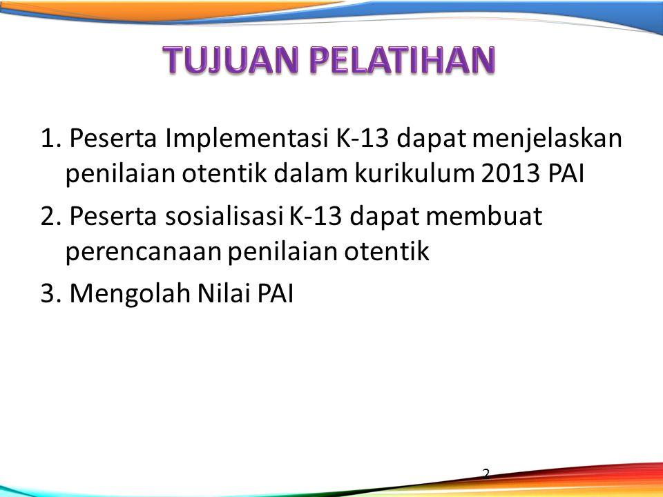 1. Peserta Implementasi K-13 dapat menjelaskan penilaian otentik dalam kurikulum 2013 PAI 2. Peserta sosialisasi K-13 dapat membuat perencanaan penila