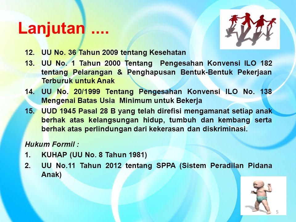 Lanjutan.... 12.UU No. 36 Tahun 2009 tentang Kesehatan 13.UU No. 1 Tahun 2000 Tentang Pengesahan Konvensi ILO 182 tentang Pelarangan & Penghapusan Ben