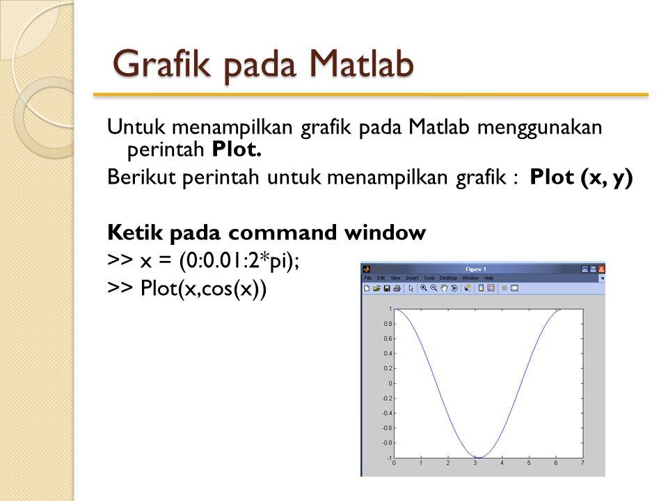 >>x=linspace(-pi,pi,60); >>y=sin(x); >>plot(x,y) >>plot(x, sin(x),'.