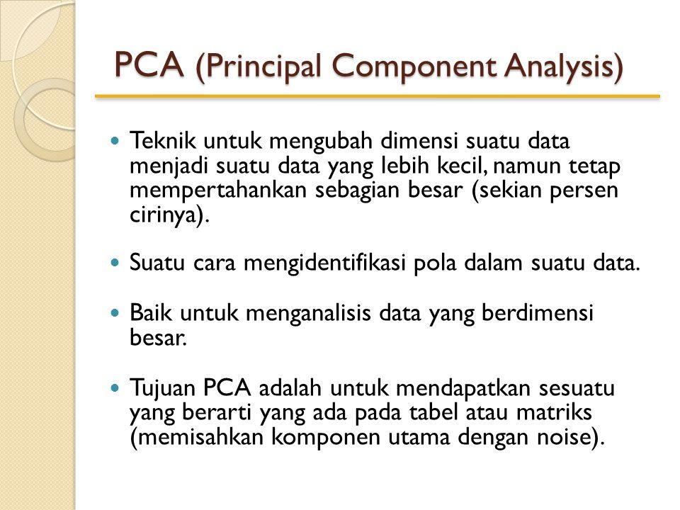 PCA (Principal Component Analysis) Teknik untuk mengubah dimensi suatu data menjadi suatu data yang lebih kecil, namun tetap mempertahankan sebagian besar (sekian persen cirinya).