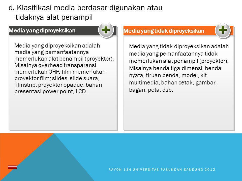 Media yang tidak diproyeksikan adalah media yang pemanfaatannya tidak memerlukan alat penampil (proyektor). Misalnya benda tiga dimensi, benda nyata,