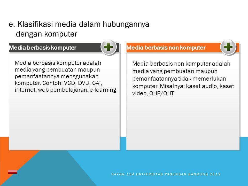 Media berbasis non komputer adalah media yang pembuatan maupun pemanfaatannya tidak memerlukan komputer. Misalnya: kaset audio, kaset video, OHP/OHT M