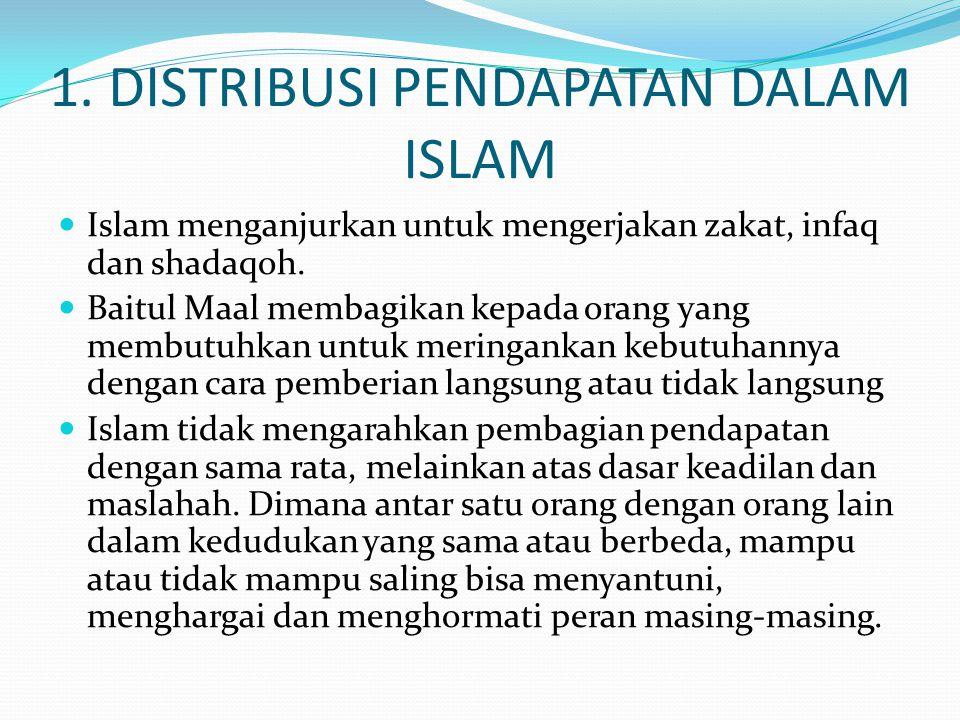 1. DISTRIBUSI PENDAPATAN DALAM ISLAM Islam menganjurkan untuk mengerjakan zakat, infaq dan shadaqoh. Baitul Maal membagikan kepada orang yang membutuh