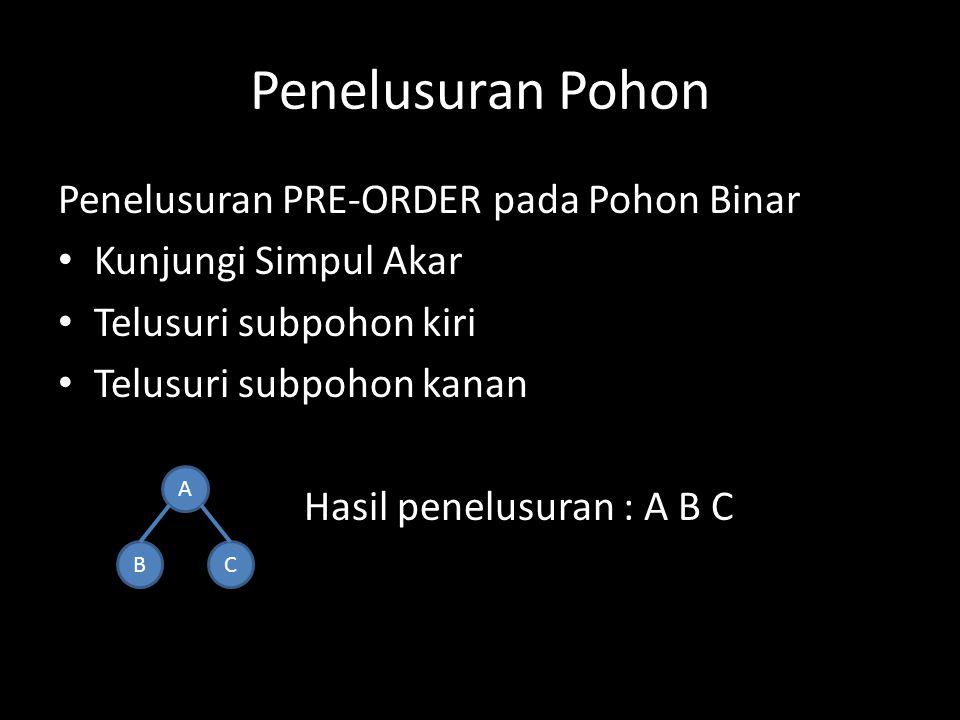 Penelusuran Pohon Penelusuran PRE-ORDER pada Pohon Binar Kunjungi Simpul Akar Telusuri subpohon kiri Telusuri subpohon kanan Hasil penelusuran : A B C