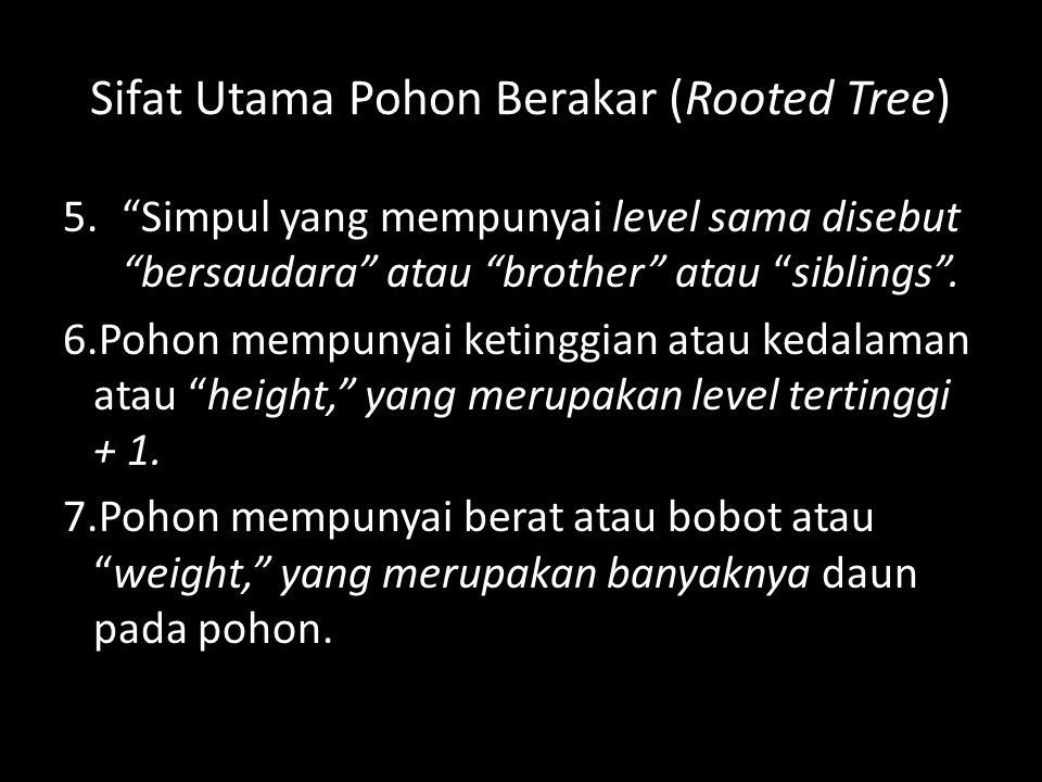 """Sifat Utama Pohon Berakar (Rooted Tree) 5.""""Simpul yang mempunyai level sama disebut """"bersaudara"""" atau """"brother"""" atau """"siblings"""". 6.Pohon mempunyai ket"""