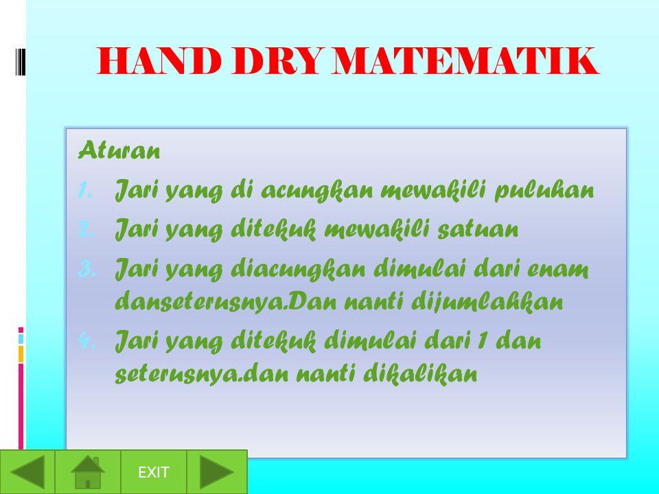 HAND DRY MATEMATIK Aturan 1. Jari yang di acungkan mewakili puluhan 2.