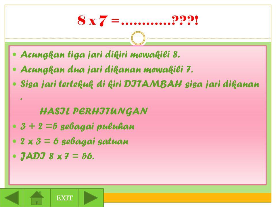 8 x 7 =…………???. Acungkan tiga jari dikiri mewakili 8.