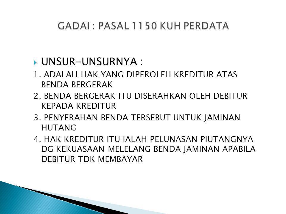  UNSUR-UNSURNYA : 1. ADALAH HAK YANG DIPEROLEH KREDITUR ATAS BENDA BERGERAK 2.