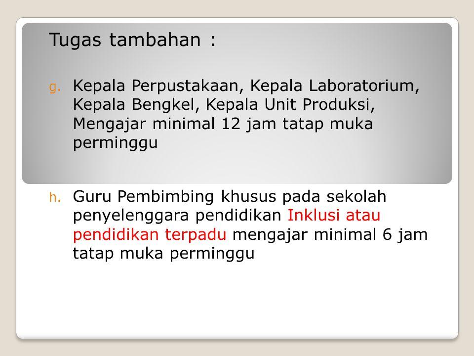 TUGAS GURU (Permendiknas No 35 Tahun 2010) Petunjuk Teknis Pelaksanaan Jabatan fungsional Guru dan Angka Kreditnya a. Beban kerja 24 – 40 jam per ming