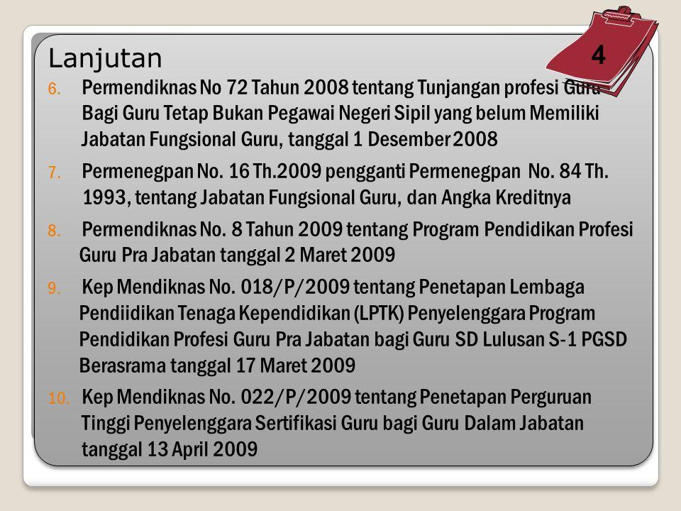 4. Permendiknas/Kepmendiknas 1.Kep Mendiknas No. 129a/U/2004 tentang Standar Pelayanan Minimal Bidang Pendidikan 2.Permendiknas No. 16 tahun 2007 tent