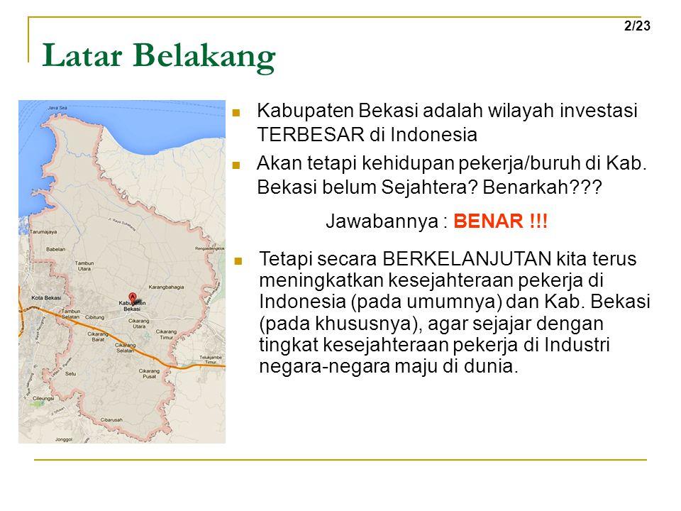 Latar Belakang Kabupaten Bekasi adalah wilayah investasi TERBESAR di Indonesia Akan tetapi kehidupan pekerja/buruh di Kab. Bekasi belum Sejahtera? Ben