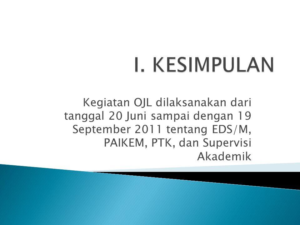 Kegiatan OJL dilaksanakan dari tanggal 20 Juni sampai dengan 19 September 2011 tentang EDS/M, PAIKEM, PTK, dan Supervisi Akademik