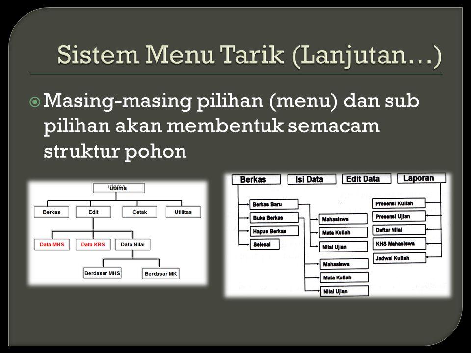  Masing-masing pilihan (menu) dan sub pilihan akan membentuk semacam struktur pohon
