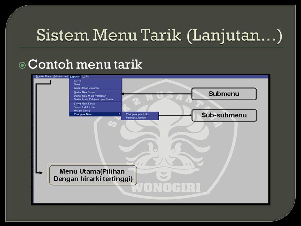  Contoh menu tarik