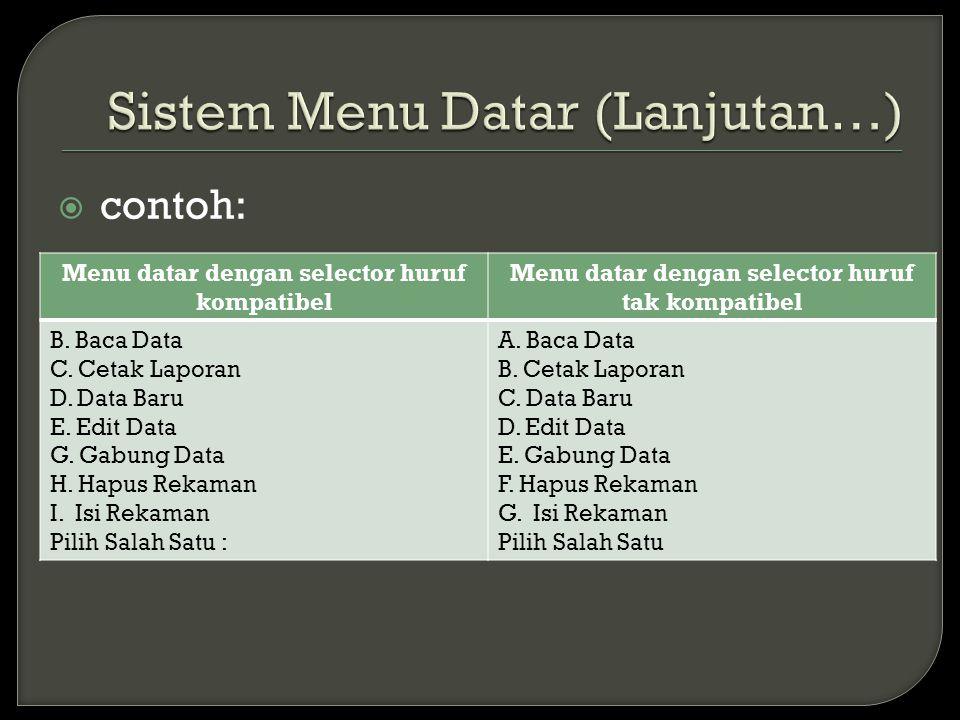  contoh: Menu datar dengan selector huruf kompatibel Menu datar dengan selector huruf tak kompatibel B. Baca Data C. Cetak Laporan D. Data Baru E. Ed