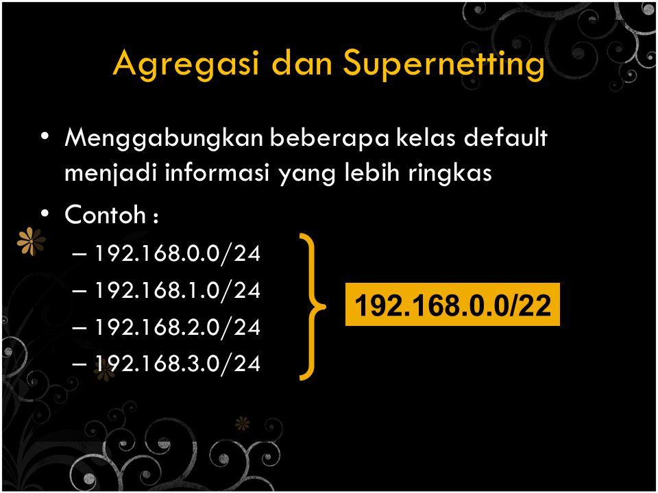 Agregasi dan Supernetting Menggabungkan beberapa kelas default menjadi informasi yang lebih ringkas Contoh : – 192.168.0.0/24 – 192.168.1.0/24 – 192.168.2.0/24 – 192.168.3.0/24 192.168.0.0/22