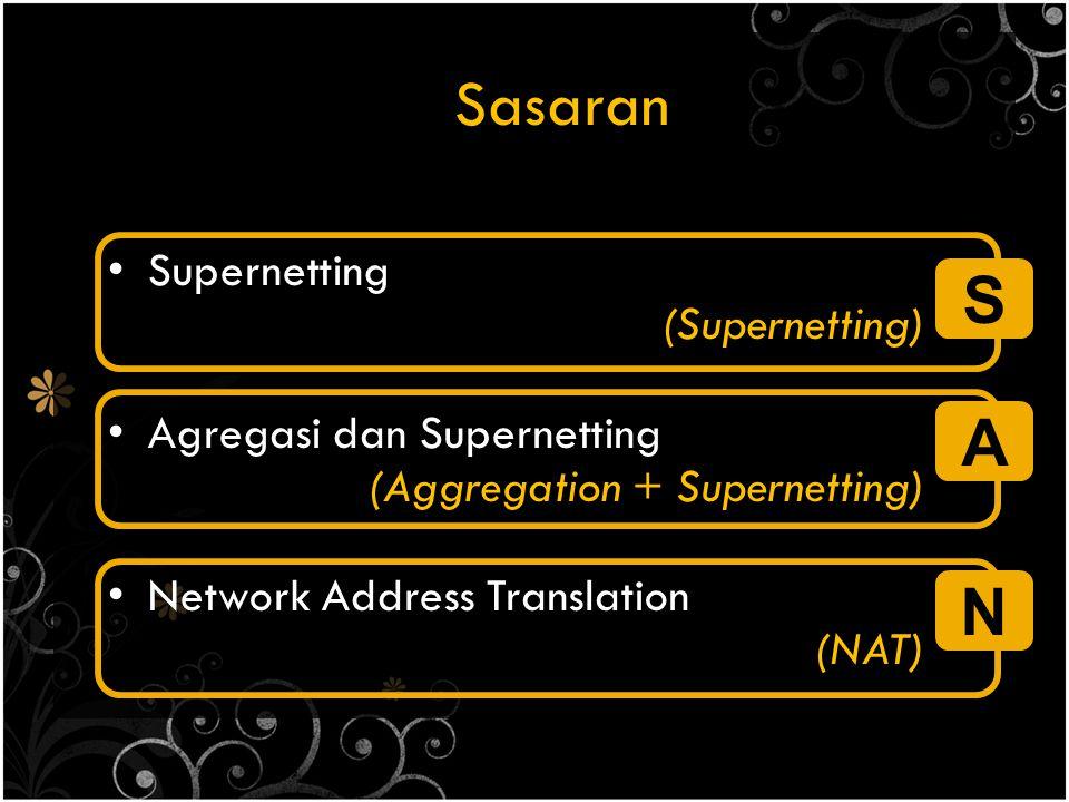 Sasaran Supernetting (Supernetting) Agregasi dan Supernetting (Aggregation + Supernetting) Network Address Translation (NAT) S A N