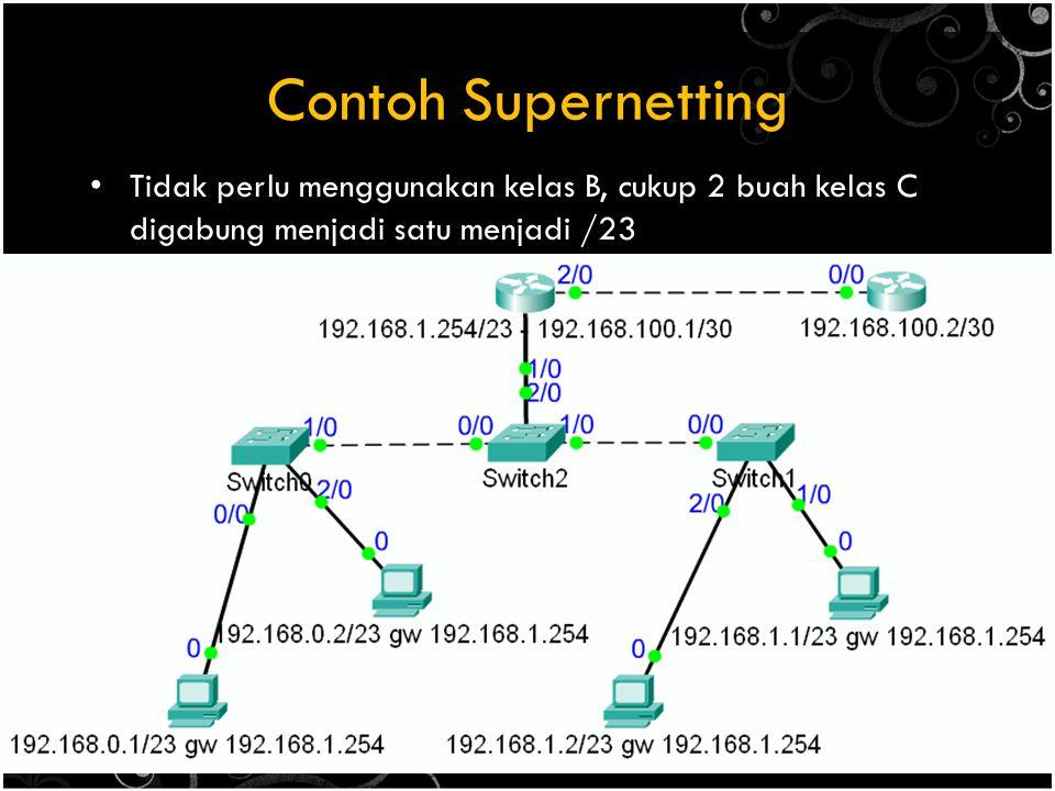 Contoh Supernetting Tidak perlu menggunakan kelas B, cukup 2 buah kelas C digabung menjadi satu menjadi /23