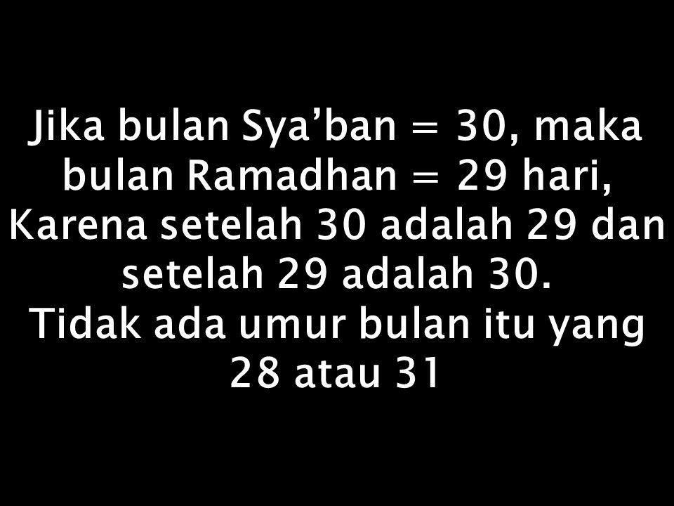 Kita mengenal kata Nishfu Sya'ban Artinya Separoh Sya'ban Ini membuktikan bahwa umur bulan Sya'ban itu 30, bukan 29 karena 29 tidak bisa dibagi dua