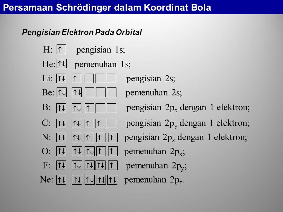 Pengisian Elektron Pada Orbital Persamaan Schrödinger dalam Koordinat Bola H: pengisian 1s; He: pemenuhan 1s; Li: pengisian 2s; Be: pemenuhan 2s; B: p
