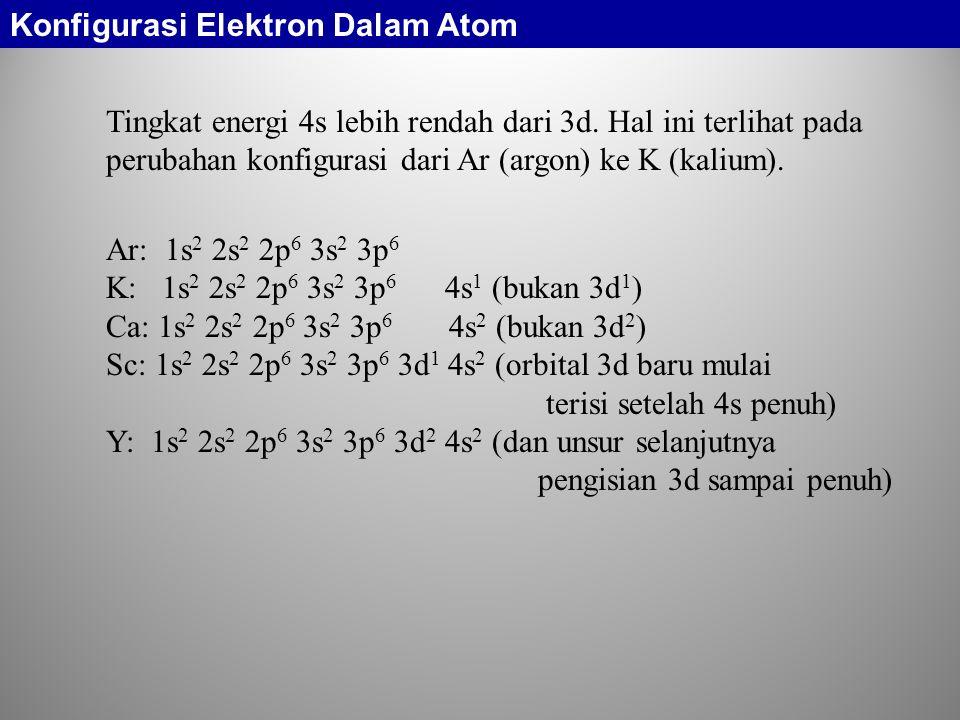Tingkat energi 4s lebih rendah dari 3d. Hal ini terlihat pada perubahan konfigurasi dari Ar (argon) ke K (kalium). Ar: 1s 2 2s 2 2p 6 3s 2 3p 6 K: 1s