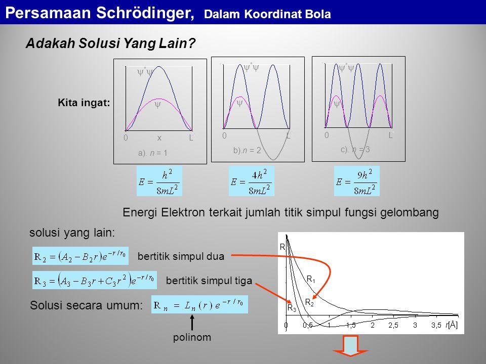 probabilitas keberadaan elektron Pe1Pe1 Pe2Pe2 Pe3Pe3 r[Å] PePe Tingkat-Tingkat Energi Atom Hidrogen 1 2 3 4 5 n  13,6  3,4  1,51 energi total [ eV ] ground state  10,2 eV  1,89 eV bilangan kuantum prinsipal Persamaan Schrödinger, Dalam Koordinat Bola