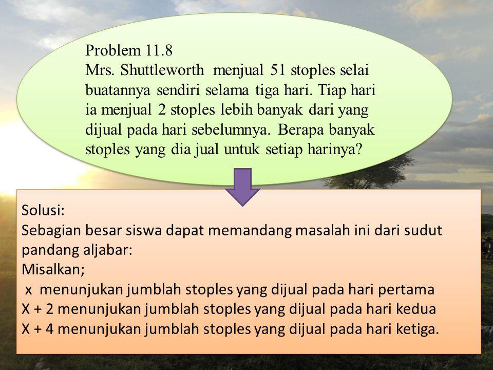 Problem 11.8 Mrs. Shuttleworth menjual 51 stoples selai buatannya sendiri selama tiga hari.
