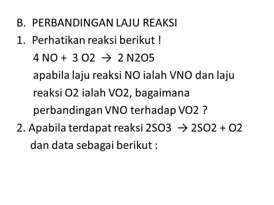 B.PERBANDINGAN LAJU REAKSI 1.Perhatikan reaksi berikut ! 4 NO + 3 O2 → 2 N2O5 apabila laju reaksi NO ialah VNO dan laju reaksi O2 ialah VO2, bagaimana