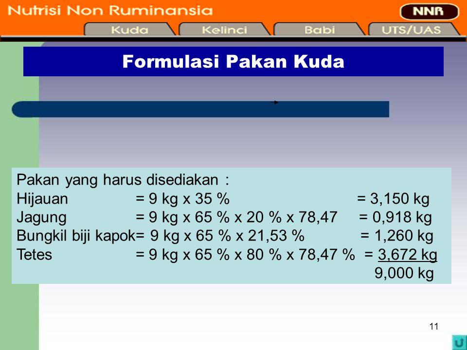 11 Formulasi Pakan Kuda Pakan yang harus disediakan : Hijauan = 9 kg x 35 % = 3,150 kg Jagung = 9 kg x 65 % x 20 % x 78,47 = 0,918 kg Bungkil biji kap