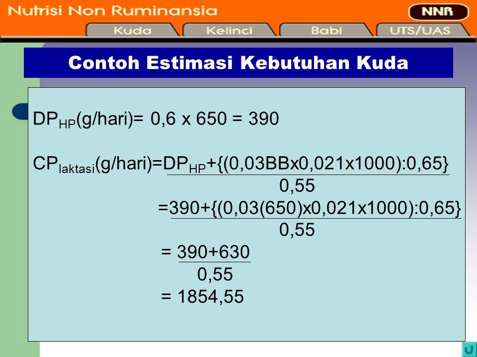 14 Contoh Estimasi Kebutuhan Kuda DP HP (g/hari)= 0,6 x 650 = 390 CP laktasi (g/hari)=DP HP +{(0,03BBx0,021x1000):0,65} 0,55 =390+{(0,03(650)x0,021x10
