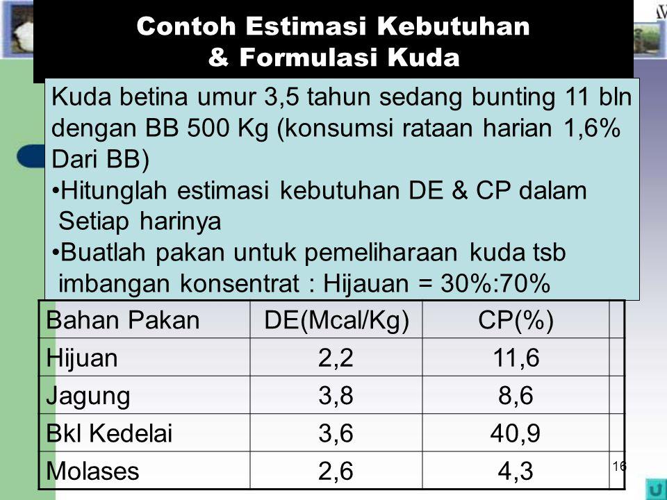 16 Contoh Estimasi Kebutuhan & Formulasi Kuda Kuda betina umur 3,5 tahun sedang bunting 11 bln dengan BB 500 Kg (konsumsi rataan harian 1,6% Dari BB)
